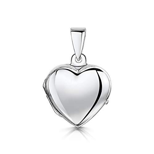 Amberta Echt 925 Sterling Silber - Anhänger in Herzform - Medaillon für Frauen - Besonders Angefertigt mit Bild oder Edelstein