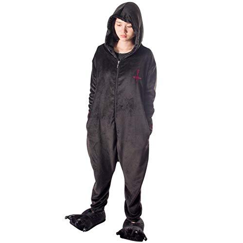 SUMHOM Pijamas de una Pieza de Juana de Arco, Anime de otoo e Invierno Destino Juana de Arco Ropa de hogar Masculina y Femenina-Negro_L 158-168