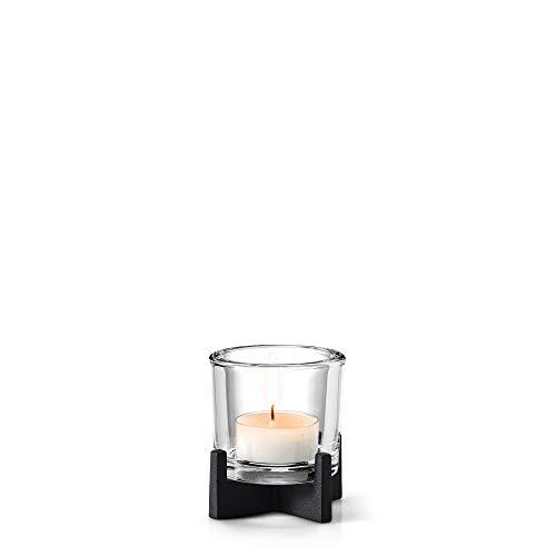 blomus -NERO- Windlicht S aus pulverbeschichtetem Stahl mit Glas, moderner Kerzenhalter mit hochwertiger Verarbeitung, stilvolles Wohnaccessoire (H / B / T: 10,5 x 10,5 x 10,5 cm, Schwarz, 65550)