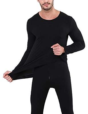 Nonbongoy Men's Ultra Soft Thermal Underwear Long Johns Top and Bottom Underwear Set Black S