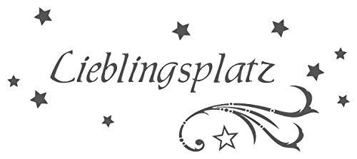 timalo® Wandtattoo fürs Wohnzimmer 'Lieblingsplatz mit Sternen' | 68011-a1-dunkelgrau-100x42