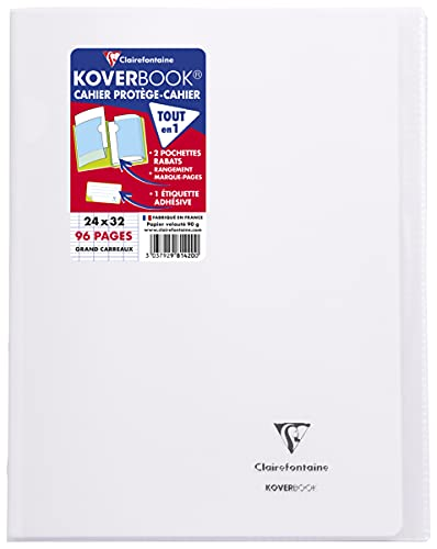 Clairefontaine 981420SC Un Cahier Agrafé Koverbook Incolore - 24x32 cm 96 Pages Grands Carreaux Papier Clairefontaine Blanc 90 g - Couverture Polypro