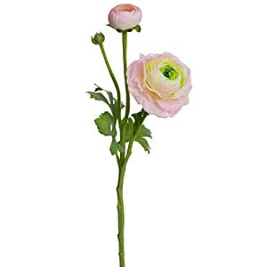 15″ Ranunculus Silk Flower Stem -Pink/Green (Pack of 12)