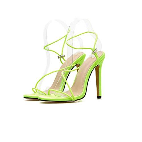 BZBZBZ Las Mujeres Bomba Slingbacks Sandalias 11.5cm Estilete de Punta Abierta Zapatos de Vestir Partido de Tenis OL UE de los Zapatos 35-43,Amarillo,EU43