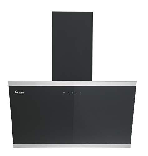 KKT KOLBE Kopffreie Dunstabzugshaube/Wandhaube / 80cm / Edelstahl/Schwarzes Glas/Extra-leise / 9 Stufen/LED-Beleuchtung/TouchSelect Sensortasten/Nachlaufautomatik / LUNA8109S