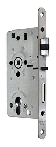 SSF Zimmer Türschloss mit Sperrfalle und Flüsterfalle Kl.III PZ 55/72/8, Edelstahl Stulp 20x235mm, DIN Rechts abgerundet incl. SN-TEC® Montageset