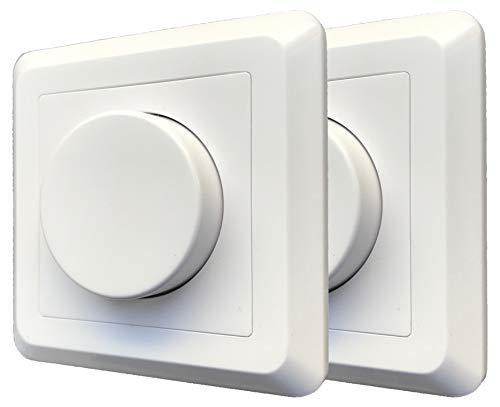 2 Stück greenandco® gc-200 Unterputz LED und Halogen Dimmer 1-200 Watt, auch für herkömmliche Leuchtmittel und für Wechselschaltungen geeignet, weiß, 2 Jahre Garantie