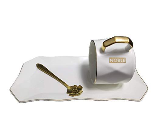 Yage Juego de tazas de café de cerámica con cuchara y bandeja, tanto para bebidas calientes como frías, taza de té para oficina y hogar con platillo apto para lavavajillas, no...