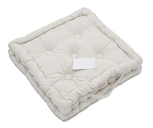 LEYENDAS Cojin para Silla de 40 x 40 x 8 cm para Interior y Exterior de 100% algodón cojín Acolchado/cojín para el Suelo (Blanco, 1)