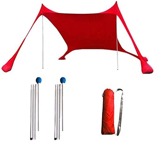 Playa Abrigo de la Tienda de Sun con un Buen Protector Solar a Prueba de Viento portátil Playa Parasol para la Familia picnics al Aire Libre Camping Playa Lounging (Rojo)