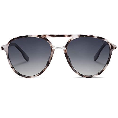 SOJOS Oversized Polarized Sunglasses for Women Men Aviator Large Frame Ladies Shades SJ2078 with Grey Tortoise Frame/Gradient Light Blue Lens