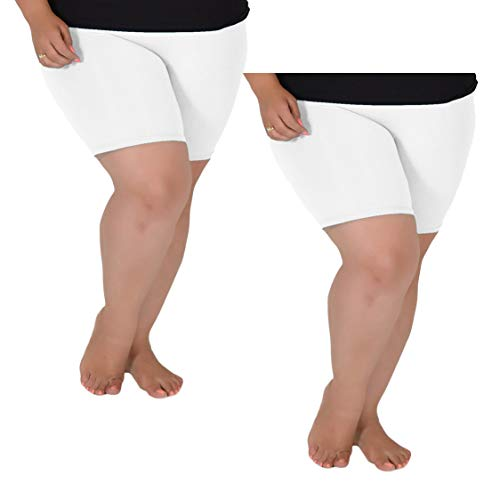 Stretch is Comfort Women's Pack of 2 Cotton Plus Size Bike Shorts White X-Large