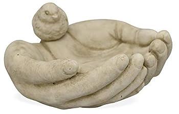 Matches21 Abreuvoir mains pour oiseaux en ciment et béton 22,5 x 21 cm