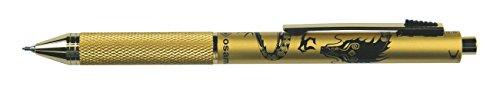 QUADRA design pen 4 functies schacht metaal mat goud draak zwart