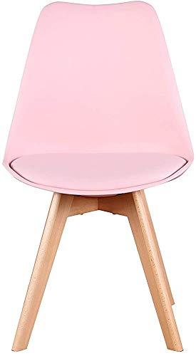 Un conjunto de cuatro silla de sala de oficina silla de tulipán de la vendimia con las piernas de roble macizo y asiento de cuero,Pink