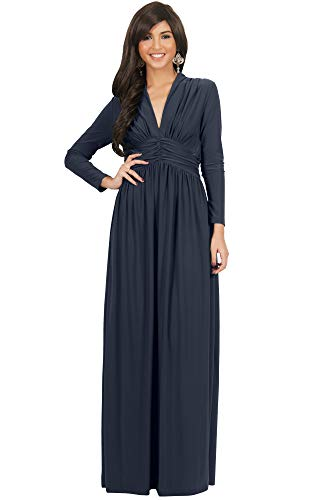 KOH KOH Womens Long Sleeve Sleeves Vintage V-neck Autumn Fall Winter Formal Evening Casual Flowy Maternity Abaya Muslim Islamic Cute Gown Gowns Maxi Dresses, Slate Gray Grey L 12-14