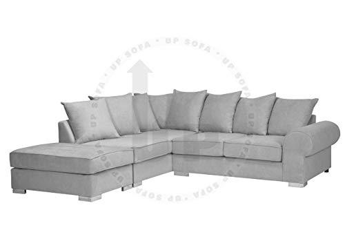 Sofá de esquina real con reposapiés (gris claro, lado izquierdo)