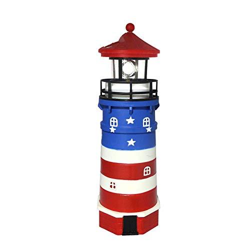 Rarlon-XC Solar Lighthouse,Plastic The Stars and The Stripes Lighthouse ,Garden Patio Lawn Outdoor Decor,Christmas Lights,Christmas Decoration