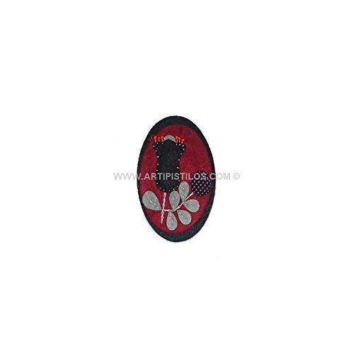 Artipistilos® Broche Fieltro Camafeo Flor - 6 Cms. X 8 Cms, Rojo - Broches De Tela