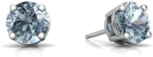 Genuine Aquamarine Round Stud Earrings 14Kt White Gold & Sterling Silver