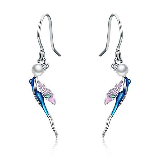 Pendientes de hadas románticos 100% plata de ley 925 figura encantadores pendientes de gota de cristal para mujer de plata de ley