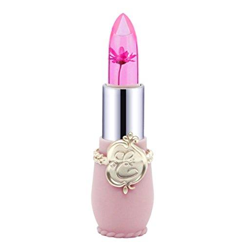 Honestyi-Rouge à lèvres Rouge à lèvres, Crystal Jelly Magic Change Couleur Lip Beauté Lumineuse Fleur (Rose)