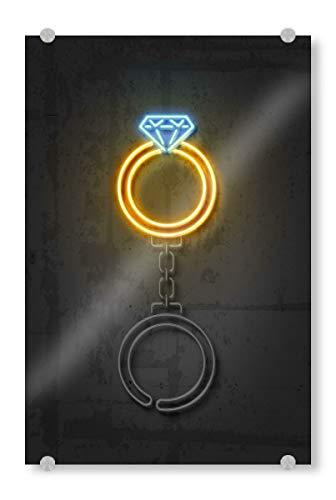artboxONE Acrylglasbild 120x80 cm Geometrie Diamond Ring Bild hinter Acrylglas - Bild Diamond Ring Diamond neon Art