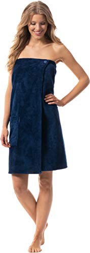 Morgenstern Saunakilt Damen große Größe Saunatuch mit Knöpfen Blau Baumwolle Sauna Kilt Frauen groß Tuch Sarong Knöpfe Saunakleid mit Gummizug lang Taschen