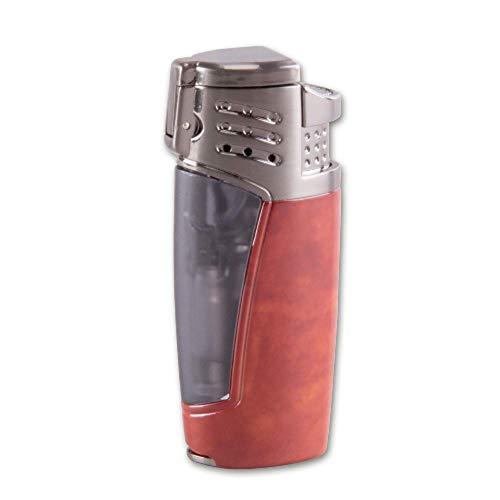 Zigarren-Feuerzeuge Feuerzeug Hadson Sky 3-Fach-Jet-Flamme und eingebauter Rundcutter braun