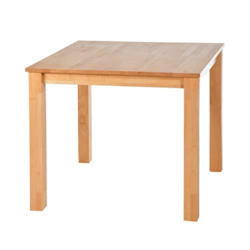 acerto 20200 Esstisch massiv aus Buche 80 x 80 cm * Hartwachsöl * Extrem robust * Massivholz Buchentisch | Großer Holz-Tisch rechteckig als Esszimmertisch Küchentisch & Massivholztisch