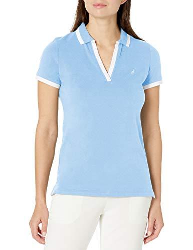 Nautica Playera Polo de algodón elástico con Cuello en V a Rayas, Ajuste clásico, para Mujer, Azul (Della Robbia Blue), XL