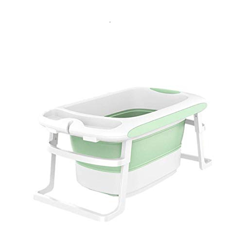 YUYAXBB opvouwbare babybadkuip voor peuter kindje - wastafel - opvouwbaar veilig antislip draagbaar met afneembare badkruk Dubbele afvoer reizen, groen