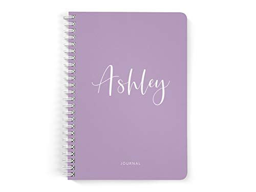 Personalized Purple Lavender Notebook, Lined or Unlined Spiral Softcover Book, Journal with Name for Her, Modern Notebooks for Women