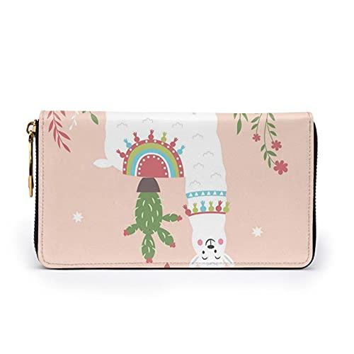 Linda Llama dibujada a mano de cuero impreso cartera mujeres Zip monedero embrague bolsa de viaje tarjeta de crédito titular monedero, Black, Talla única,