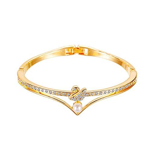 ShZyywrl Pulsera Pulsera Geométrica Cruz Oro Rosa Estrella De Cinco Puntas Cristal Metal Charm Pulsera Mujer Regalo 1