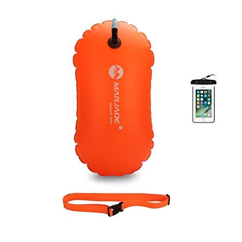 Jelkuz Jansite Swim Boya 28L con la caja del teléfono a prueba de agua, aguas abiertas de natación inflable Floatwimmers burbuja, triatletas, buceadores, baño seguro
