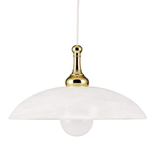 Helios Leuchten 2033611 moderne LED Hängelampe | Pendellampe Leuchte Messing | Pendelleuchte Glas weiss | Küchenlampe Landhausstil | Deckenlampe 1-flammig