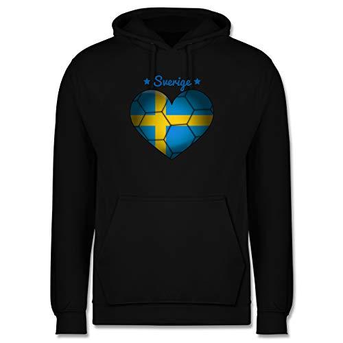 Shirtracer Handball - Handballherz Schweden - XL - Schwarz - Statement - JH001 - Herren Hoodie und Kapuzenpullover für Männer