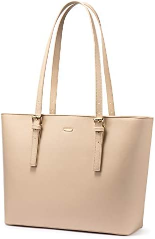 LOVEVOOK Computer Bags for Women Leather Tote Bag Laptop Handbag Work Purse Beige product image
