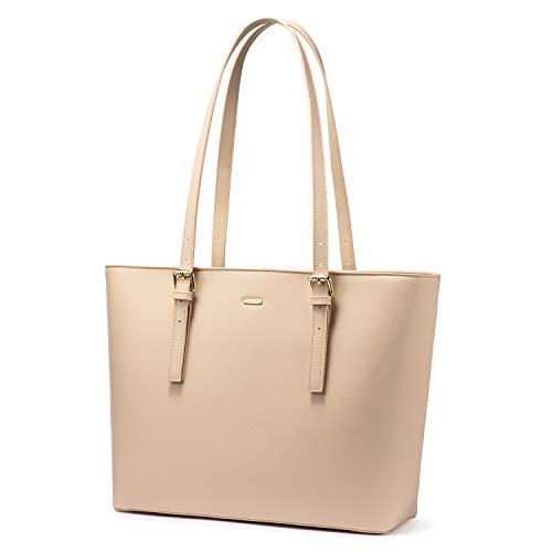 LOVEVOOK Computer Bags for Women Leather Tote Bag Laptop Handbag Work Purse, Beige