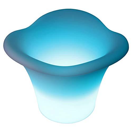 Deluxe LED Sektkühler 40x34cm Weinkühler Sektkübel multicolor RGB mit Farbwechsel und Fernbedienung aufladbar wasserfest Innen Außen IP65 Eiswürfelbehäter Blumentopf Vase Deko