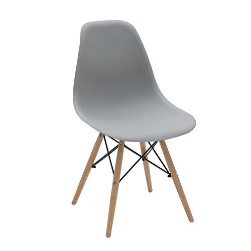 Meubles pour Tous lf435 Lot de 4 chaises, Bois, Gris, 47 x 54 x 83 cm