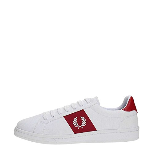 Fred Perry B721 Canvas Sneaker, White/red, 6 D UK (7 US)