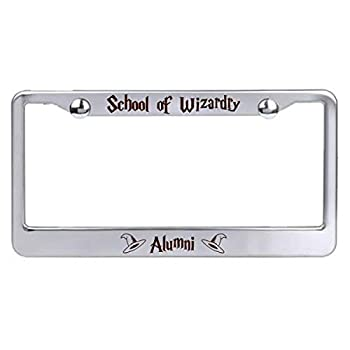 Fantasy Game Film Show Parody License Plate Frame Laser Engraved Stainless Steel - Gifts for Him for Her for Husband for Wife for Them for Men for Women  Wizard School
