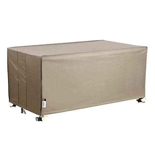 Patio Deck Box Cover, 63x30 Inch Storage Box Cover with Straps and Handles, 100% Waterproof Heavy Duty Outdoor Furniture Winter Cover for Keter, Suncast, Lifetime Container Box