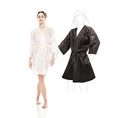 Kimonos Desechables Blanco 10 unidades + Kimono Negro 10 Unidades en TNT Ideal Para Peluquerias, Spa, Balnearios