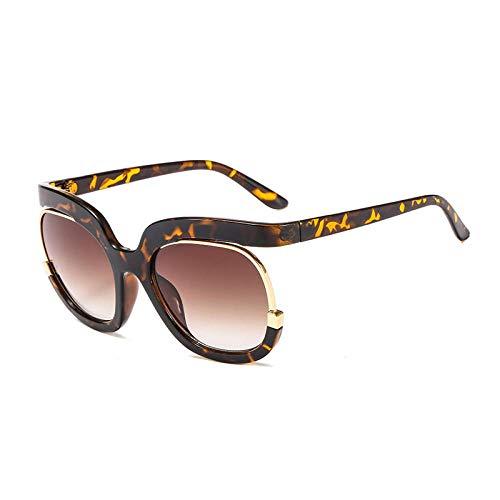 Sonnenbrille Herren Oversize Half Frame Sonnenbrille Women Square Big Frame Damen Shades Black Sun Brille Weiblich Uv400 C3Leopard-Brown