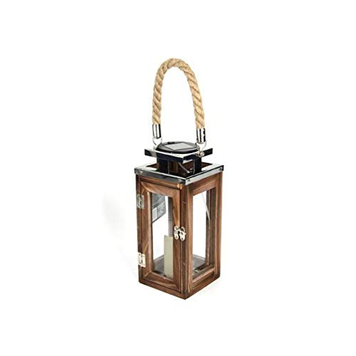 Solar LED Garten Laterne aus Holz I Wooden Lantern I mediterane Laternen I Hängelaterne I Holzlaterne I Solarlaterne I Solarlicht für drinnen und draußen (1 Laterne groß)