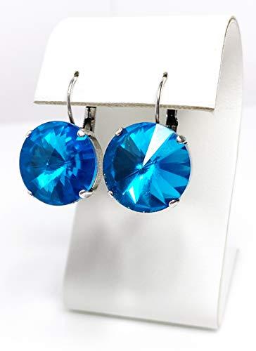 Aquamarine Rhinestone Crystal Earrings Antique Silver Lever Back