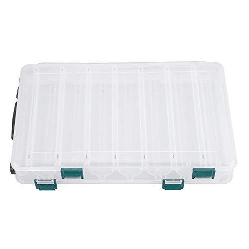 CAML Doppelschichtige PVC Angelbox Köderaufbewahrungsbox große Kapazität mit Griff leicht zu tragen leicht und tragbar durchscheinend Box Angelwerkzeug, 5005ZNO17E, durchsichtig, 14sub-Box